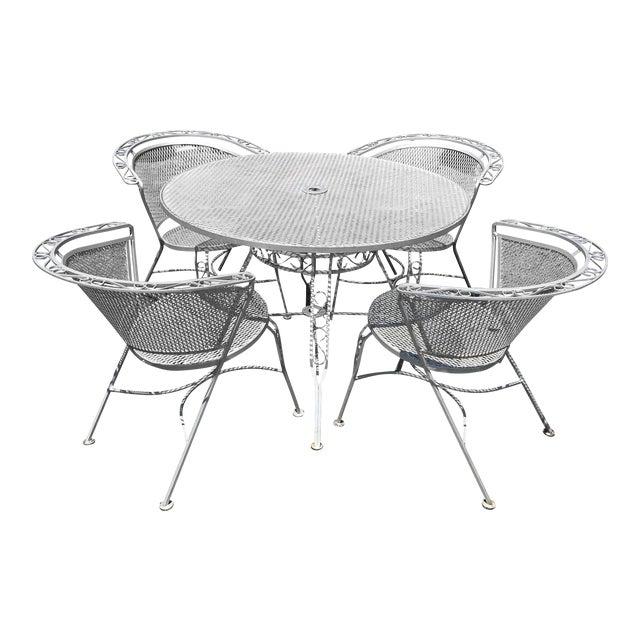 Mid Century Modern Woodard Round Outdoor Dining Set For Sale