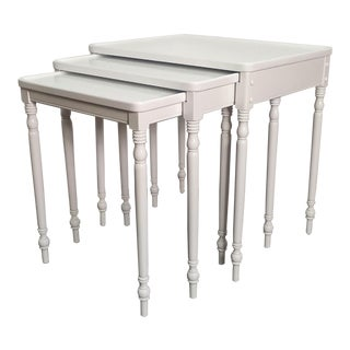 Contmemporary Wood Nesting Tables in Fresh White Lacquer Finish - Set of 3 For Sale