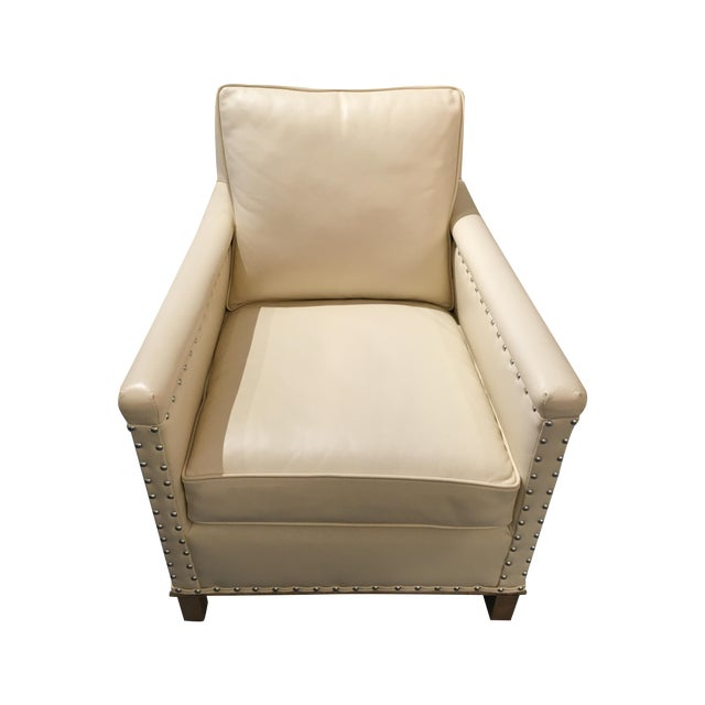 CR Laine Gotham Creme Leather Chair - Image 1 of 8