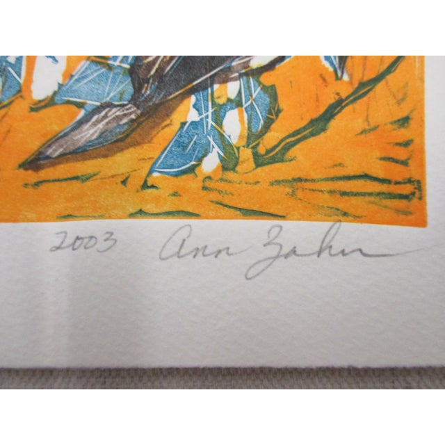 Boho Chic Vintage Lithograph Titled: Blue Footed Boobies Signed by Artist: Ann Zahn For Sale - Image 3 of 5