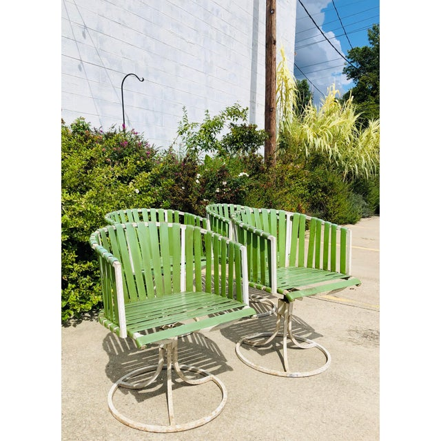 Bauhaus Vintage Mid Century Modern White Metal Chairs For Sale - Image 3 of 12