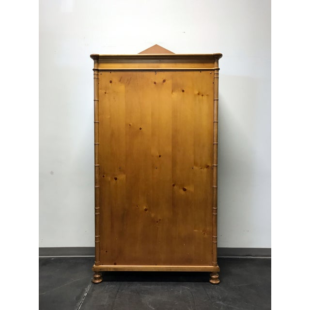 Baker Furniture Inlaid Pine Faux Bamboo Armoire W/ Wire Mesh Doors & Fitted Interior - Image 4 of 11