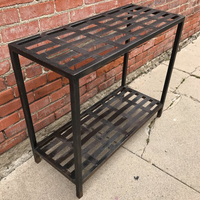 Woven Metal Console Table - Image 2 of 7