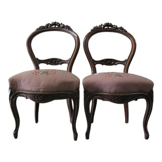 Pair Balloon Back Chairs Pheasant Motif Upholstery For Sale
