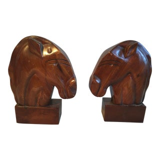 Art Deco Style Carved Mahogany Horse Head Bookends - a Pair For Sale