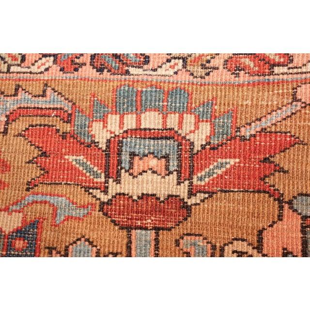 Antique Heriz Persian Golden Background Rug - 9′2″ × 10′5″ For Sale In New York - Image 6 of 11