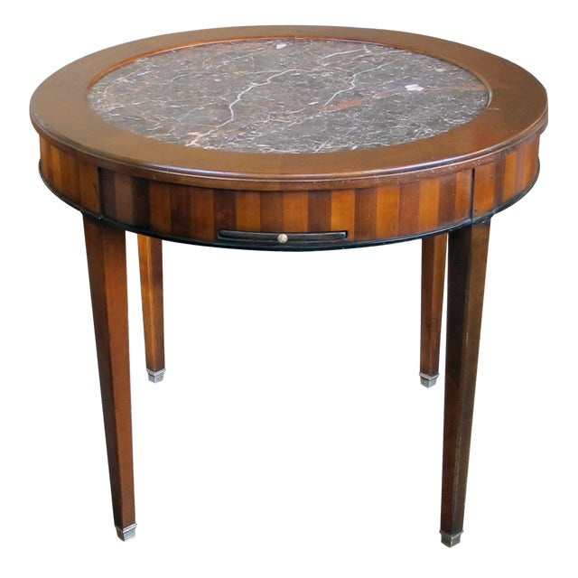 Good Quality French De Bournay Cherry and Walnut Parquetry Game/Side/Center Table With Marble Top For Sale