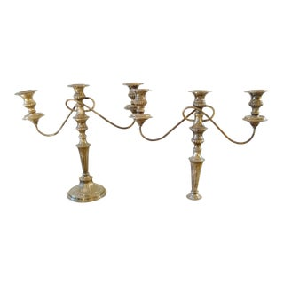 British Silver Plated Candelabras - A Pair For Sale