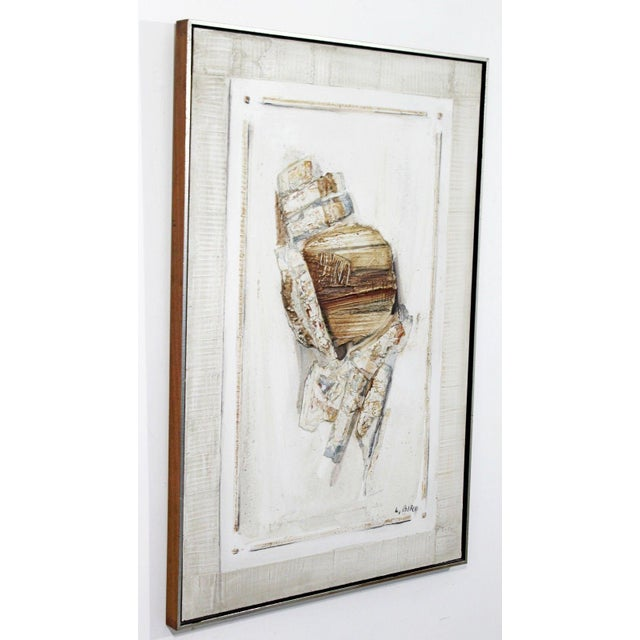 Mid-Century Modern Mid Century Modern Mixed Media Impasto Acrylic Abstract Painting by L. Biro For Sale - Image 3 of 10