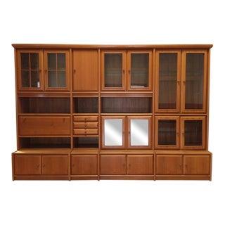 Large Vintage Teak Bookshelf Wall Unit