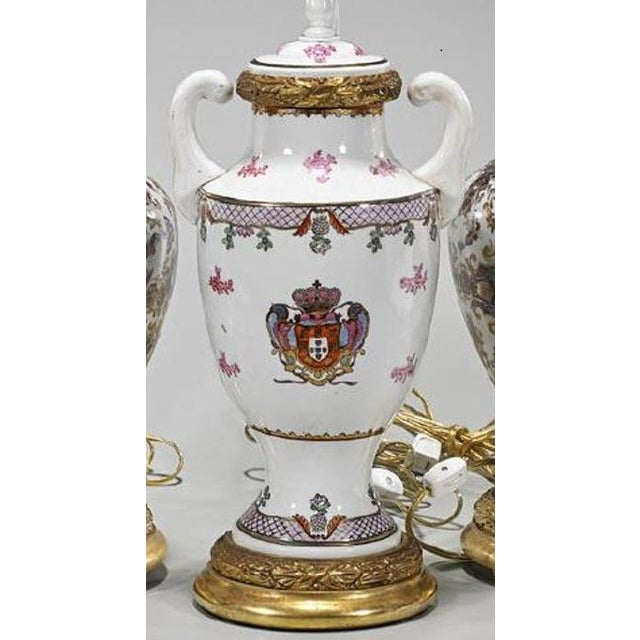 Antique Chinese Armorial Crest Pottery Table Lamp