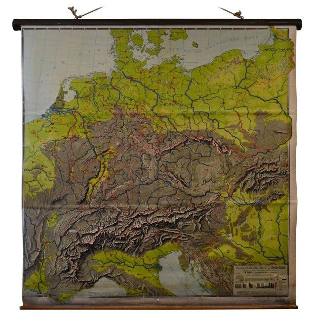 Schoolroom Topographic Map of Germany | Chairish