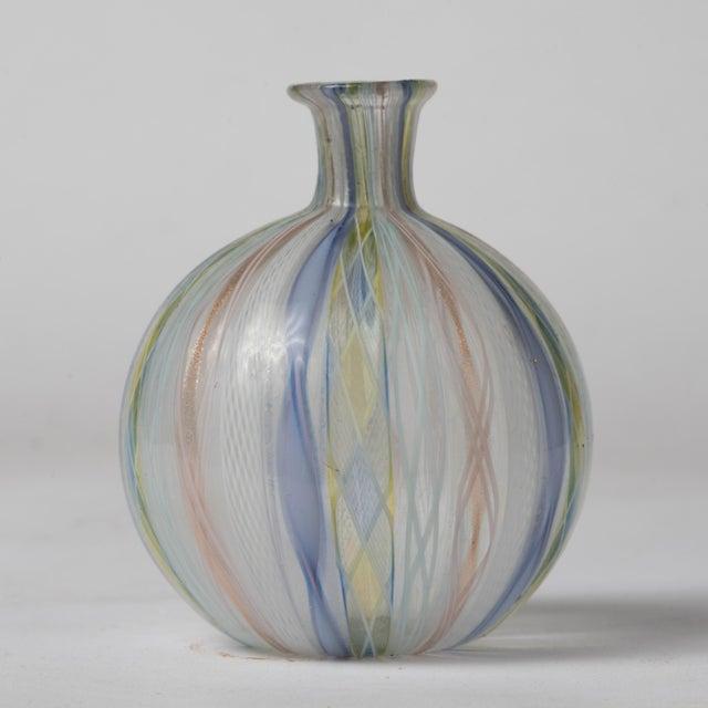 Italian Mid Century Murano Latticino Zanfirico Italian Ribbons Art Glass Bud Vase For Sale - Image 3 of 8