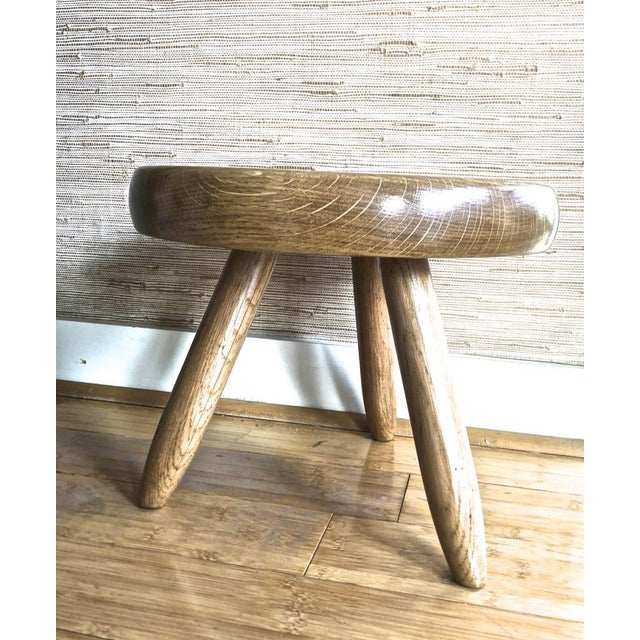 1950s Charlotte Perriand Genuine Vintage Ash Tree Tripod Low Stool For Sale - Image 5 of 7