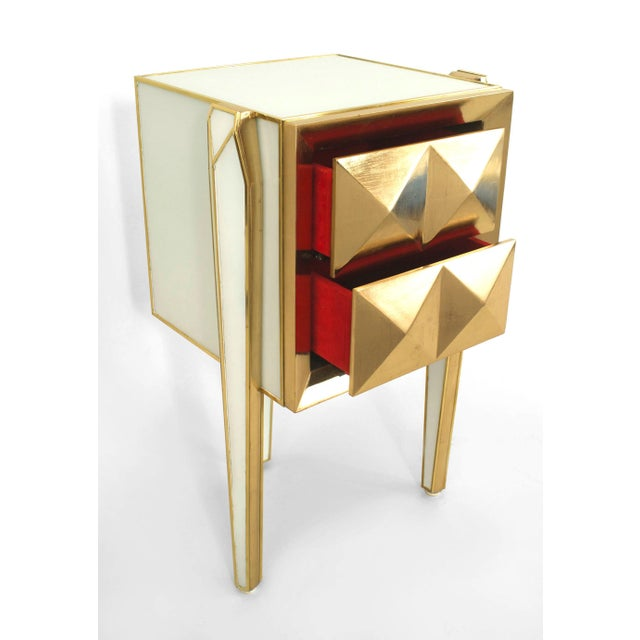 Modern Pair of Limited Edition Giltwood With White Glass and Brass Side Commodes For Sale - Image 3 of 8