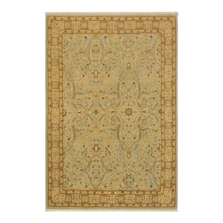 Istanbul Ira Blue/Ivory Turkish Hand-Knotted Rug -4'0 X 5'11 For Sale