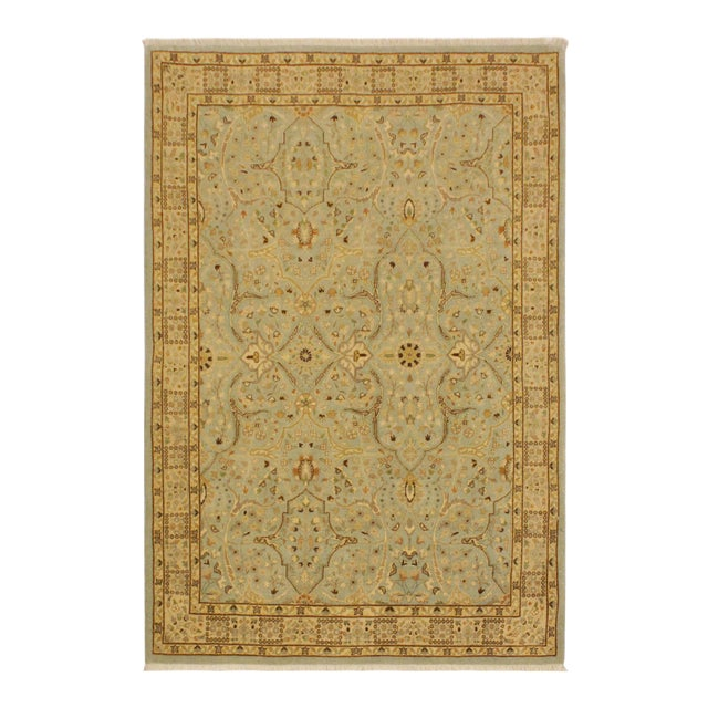 Semi Antique Istanbul Ira Blue/Ivory Turkish Hand-Knotted Rug -4'0 X 5'11 For Sale