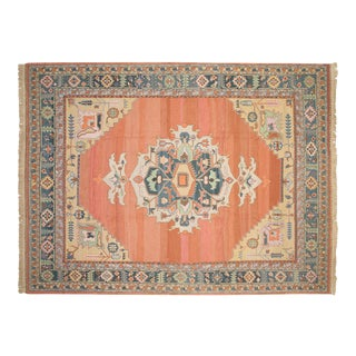 "Vintage Indian Serapi Soumac Design Carpet - 9'4"" X 11'10"" For Sale"