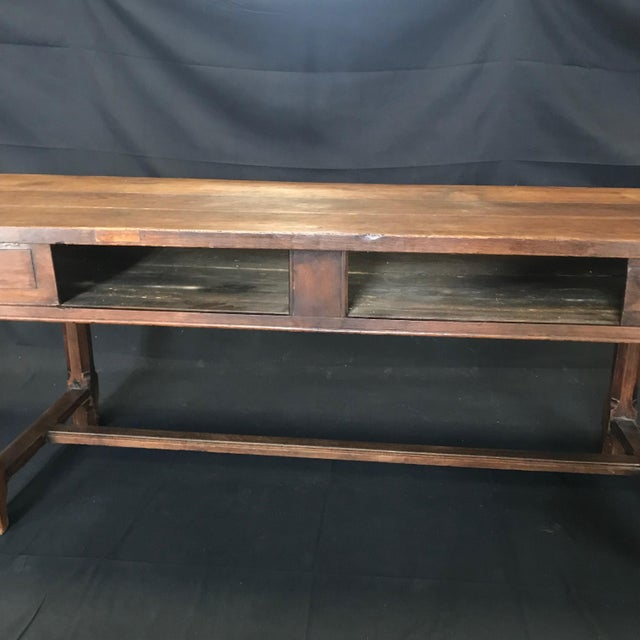 French Provincial Early 19th Century Oak Farm Table With Sliding Drawers For Sale - Image 3 of 13