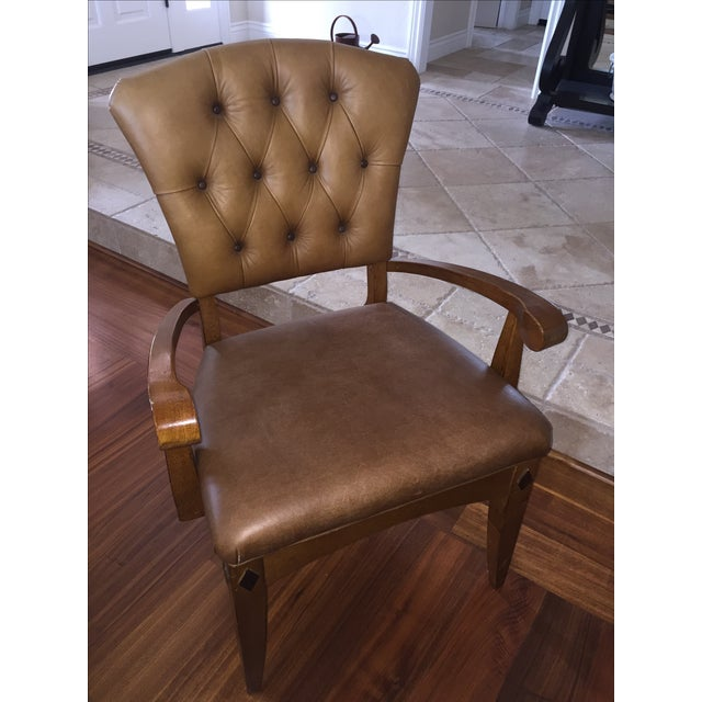 Brown Leather Parlor Chair - Image 2 of 5