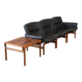 Modular Rosewood and Black Leather Sofa Set For Sale
