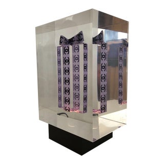 Acrylic Chanel Cube Sculpture Janklo For Sale
