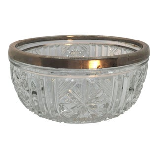 Mid-Century English Cut Crystal and Silver Bowl For Sale