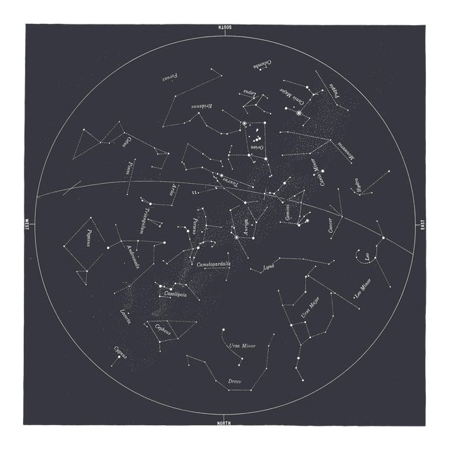 Square Vintage Minimal Star Map With Constellations - Slate Gray For Sale