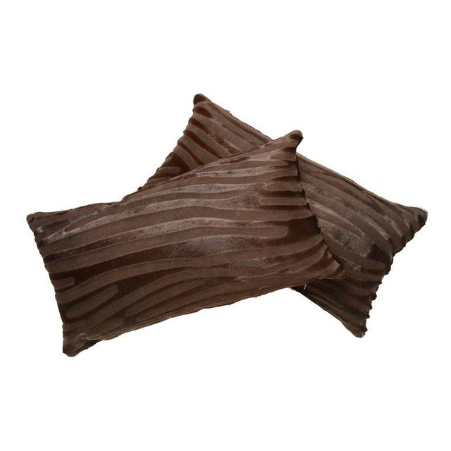 2010s Laser Cut Zebra Pattern Cowhide Pillow For Sale - Image 5 of 5