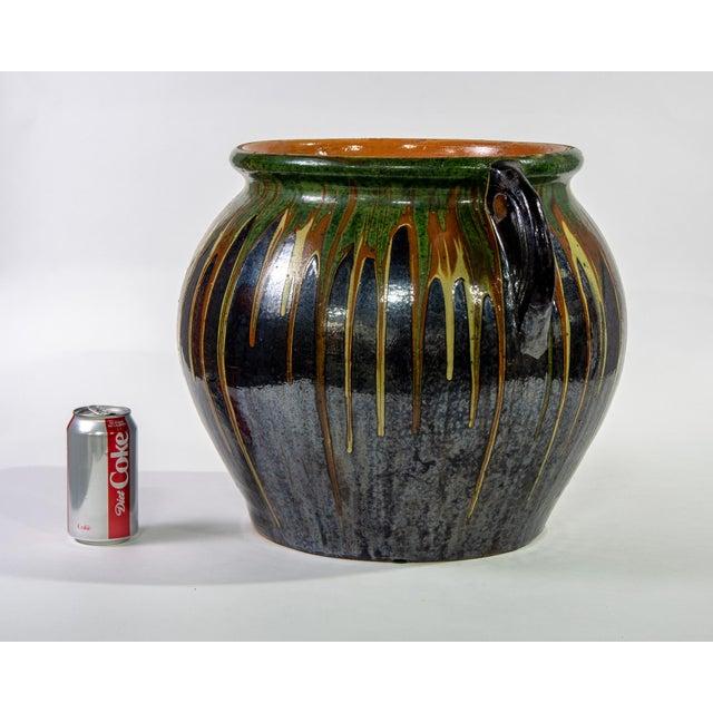 1960s Large European Drip Glaze Black Ceramic Pot For Sale - Image 5 of 11