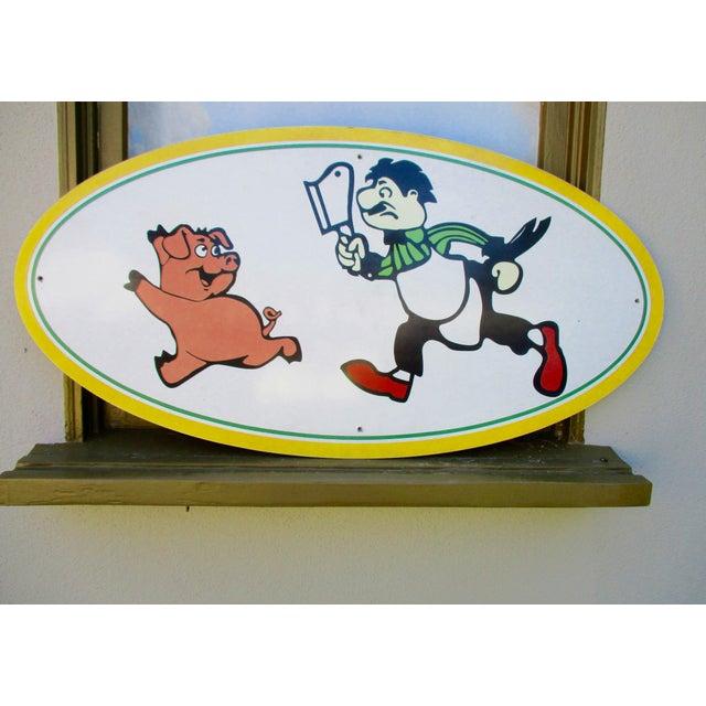 Vintage Wood Pig & Butcher Sign - Image 6 of 9