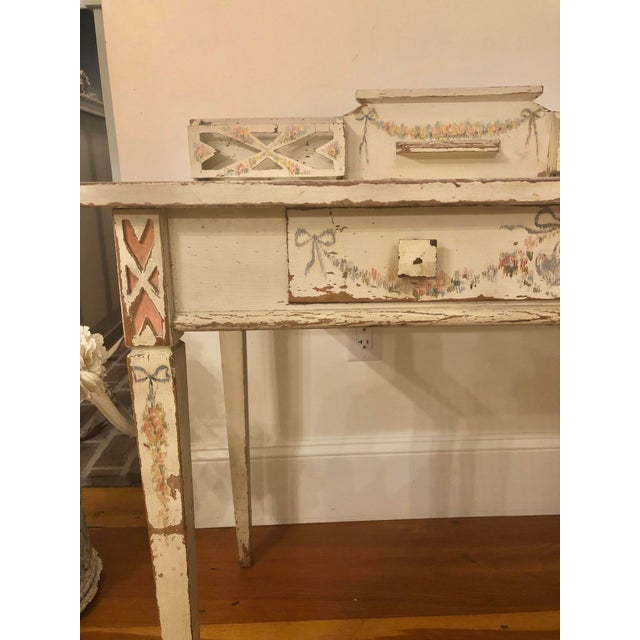 Antique Shabby Chic Hand Painted Floral Writing Desk For Sale In Providence - Image 6 of 11