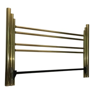 Vintage Mid Century Modern Pace King Size Solid Brass Headboard For Sale