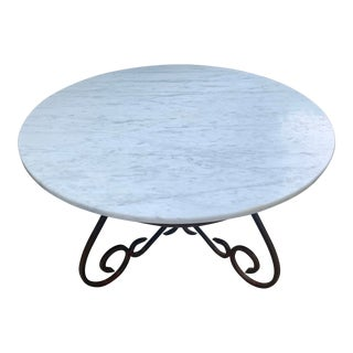 Vintage Wrought Iron & Marble Coffee Table For Sale