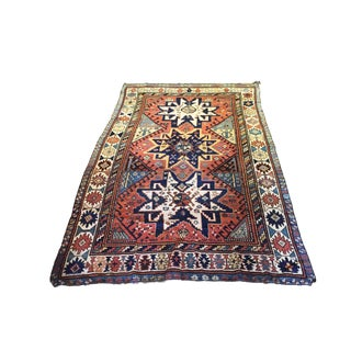 """Rare 19th C Antique Star Kazak 7 ft 10"""" by 4 ft 10"""" For Sale"""