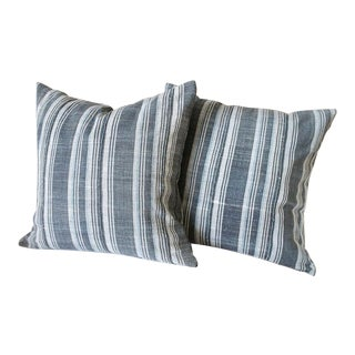 Antique Batik Striped Pillow For Sale