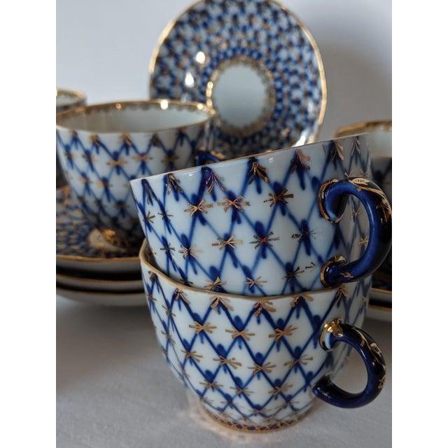 Blue Vintage Russian Lomonosov Cobalt Net Demitasse Set - 16 Pieces For Sale - Image 8 of 11