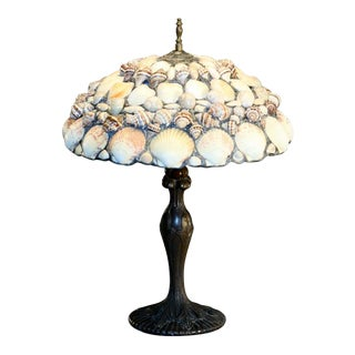 Leaded Seashell Lamp With Art Nouveau Metal Base For Sale