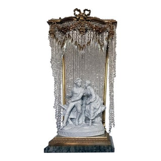 Late 19th Century Antique French Crystal Beaded Table Lamp For Sale