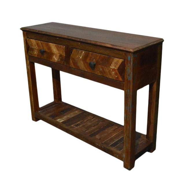Reclaimed Wood Free Standing Console For Sale