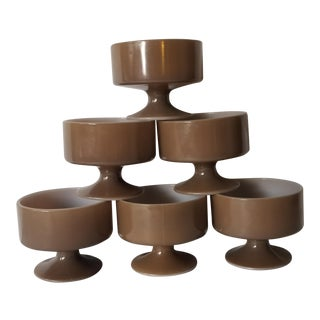 Vintage Brown and White Pedestal Ice Cream Dessert Cups - Set of 6 For Sale