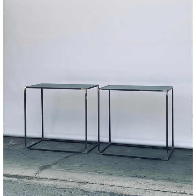 Modern Filiforme' Patinated Steel Minimalist Side Tables by Design Frères - a Pair For Sale - Image 3 of 7