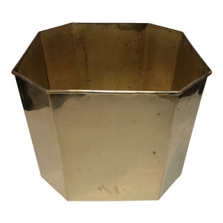 Jumbo Vintage Octagonal Brass Floor Planter For Sale