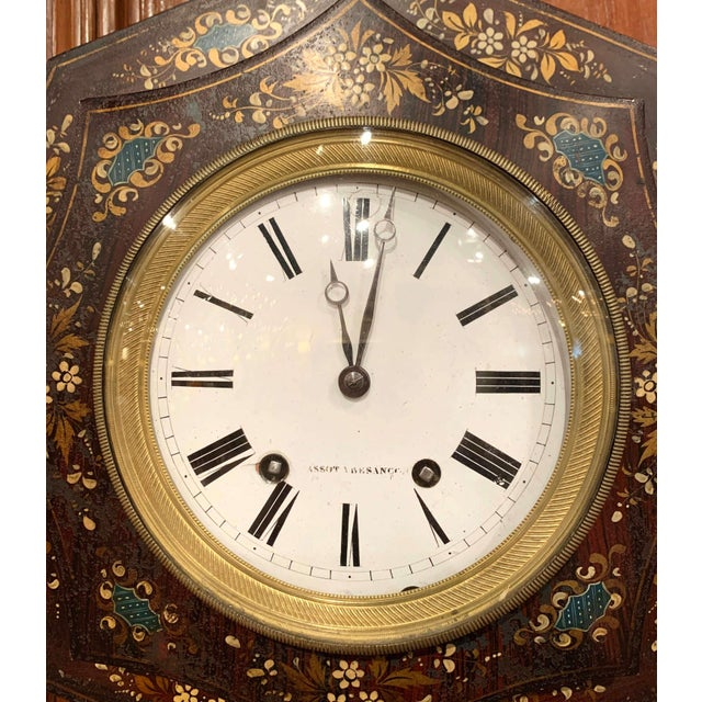French 19th Century, French Napoleon III Black and Gilt Painted Tole Wall Clock For Sale - Image 3 of 13