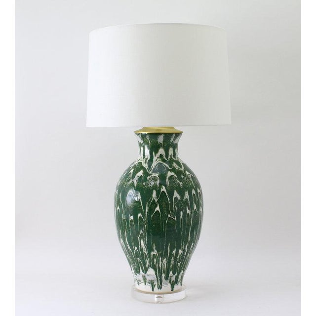 """Not Yet Made - Made To Order Paul Schneider Ceramic """"Matagorda"""" Lamp in Drip Banded Forrest Glaze For Sale - Image 5 of 7"""