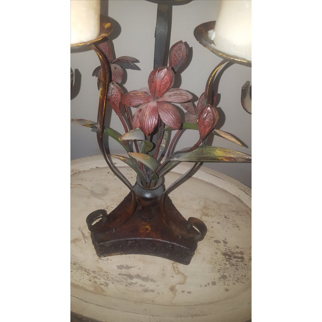 Large Metal Candle Holders - A Pair - Image 6 of 7