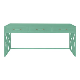 Casa Cosima CeCe Desk with Wood Fretwork Base, Southfield Green For Sale
