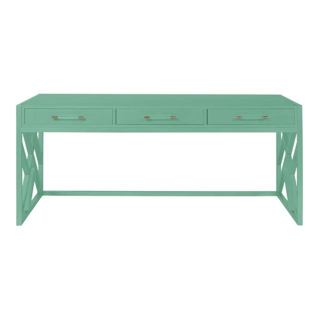 Casa Cosima CeCe Desk with Wood Fretwork Base, Southfield Green For Sale