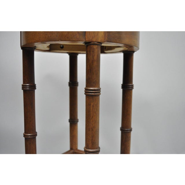 Vintage Chinese Chippendale Style Mahogany Faux Bamboo Counter Bar Stool For Sale - Image 4 of 11