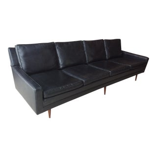 Milo Baughman Thayer Coggin Black Vinyl Sofa For Sale